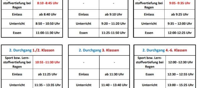 Aktualisierte Unterrichtszeiten